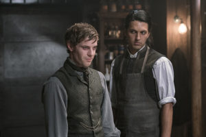 Harry Treadaway as Dr. Victor Frankenstein and Shazad Latif as Dr. Jekyll in Penny Dreadful (season 3, episode 2). - Photo: Jonathan Hession/SHOWTIME - Photo ID: PennyDreadful_302_0399